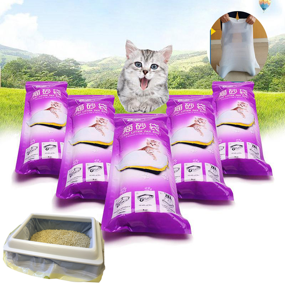 7/PCS Pet Cat Litter Bag Cats Litter Box Mat Duty Drawstring Cat Litter Pan Bags Kitten Cleaning Supplies For Storage Cat Sand