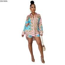2020 kadın setleri yaz afrika baskı eşofman gömlek + şort takım elbise iki parçalı Set gece kulübü parti 2 adet seksi sokak kıyafetler GL129