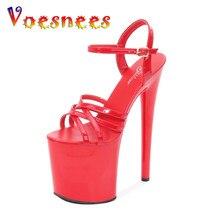 Voesnees novo andar mostrar artefato modelo de salto alto 20 cm mulher sapatos sandálias verão sexy plataforma discoteca festa casamento sapatos