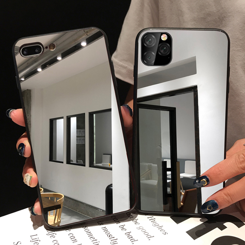 Luxury Full Mirror Soft TPU Case For Iphone 11 Pro Max Plating Cover Case For Iphone 7 8 6 6S Plus X XR XS Max Phone Cases Coque