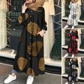 ZANZEA 2021 Muslimischen Gedruckt Maxi Kleid frauen Herbst Sommerkleid Casual Langarm Shirt Vestidos Weiblichen Knopf Robe Plus Größe