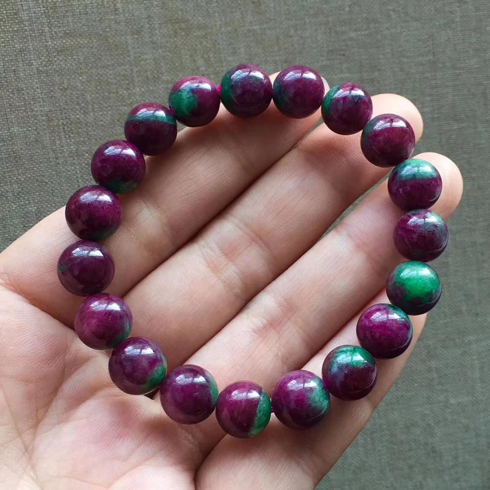 Natural Red Green Ruby Zoisite Gemstone Bracelets Rare Best Round Beads Stretch 10mm Natural Ruby AAAAA