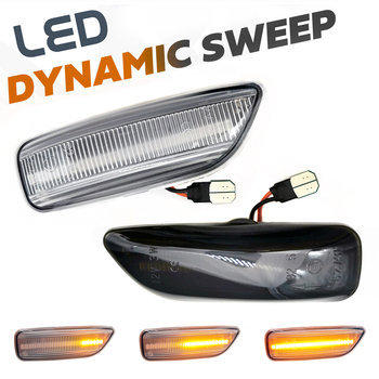 2pc LED Dynamic Car Fender Front Side Marker Light Turn Signal Lamps For Volvo Xc70 S80 Xc90 S60 V70 2001-2009 30722641 30722642