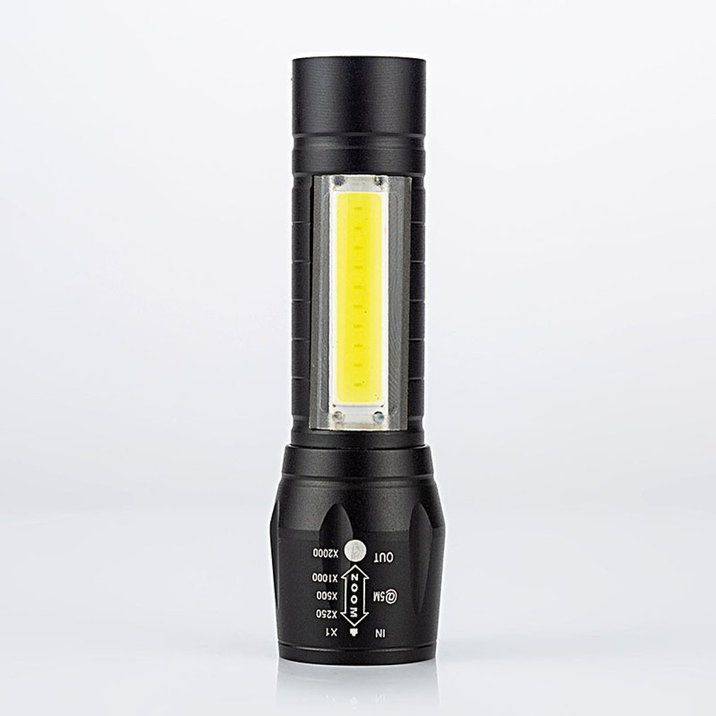 USB Aluminum Alloy COB Flashlight High Power LED Waterproof Outdoor Camping Hiking Hunting Torch Flashlight