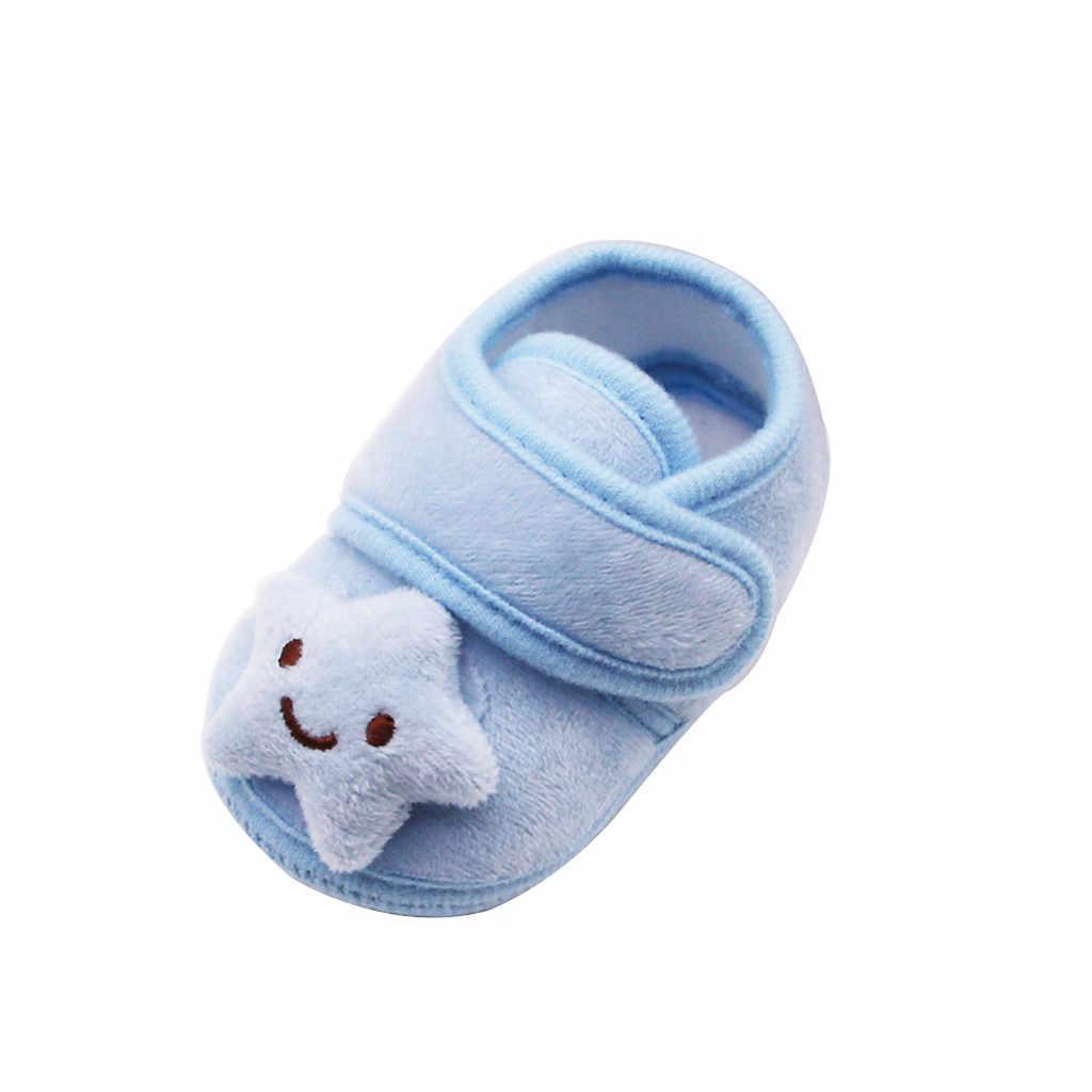 Zapatos para bebés recién nacidos de felpa nube de estrellas lindas primer gancho de caminante y bucle invierno botas de suela suave antideslizante zapatos de abrigo infantil