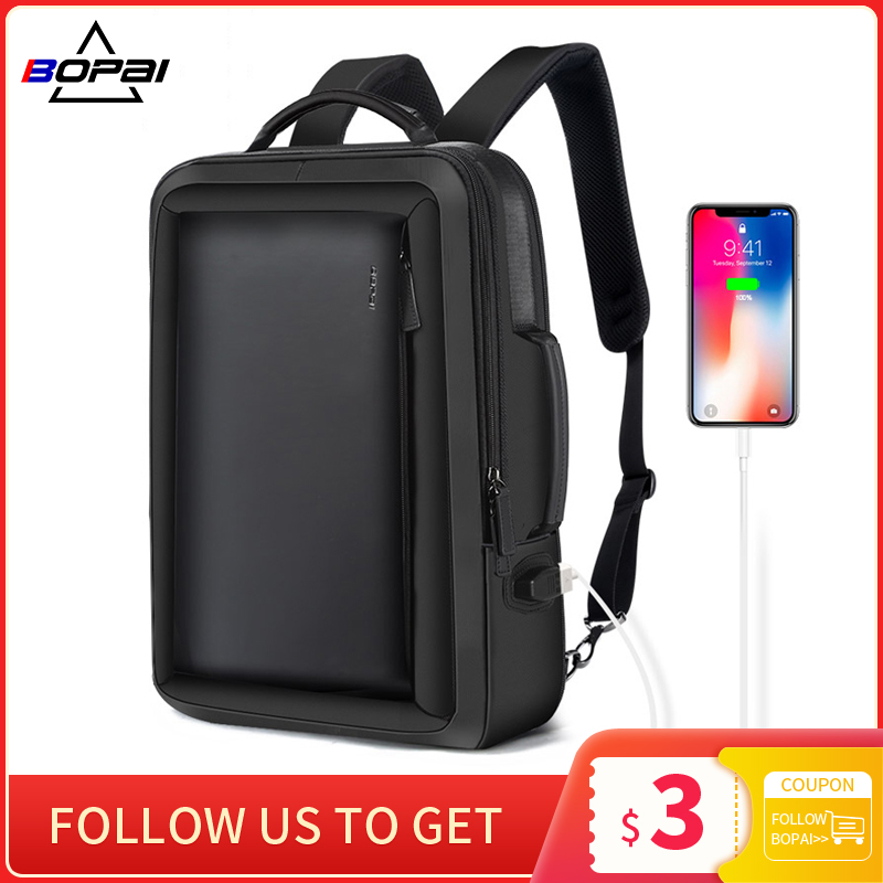 BOPAI Men Laptop Backpack Business Anti-Theft Backpacking Travel Waterproof USB Charging Male School Bags Office Bag