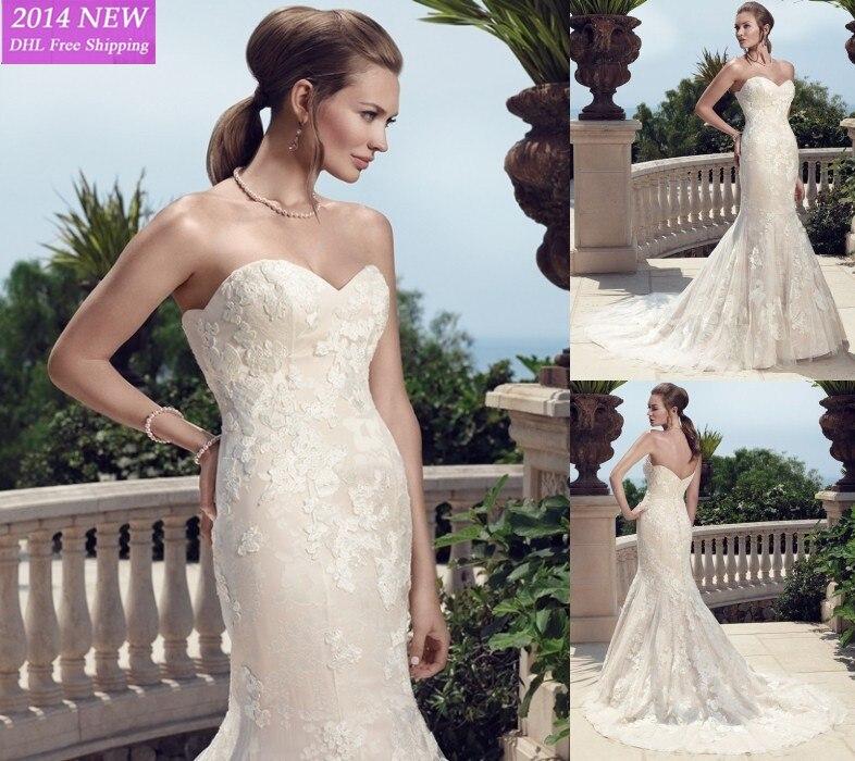 2014 Novo Elegante Sereia Com Namorado Apliques Em Organza E Cetim Vestidos De Noiva Personalizado- Feito Wv-39