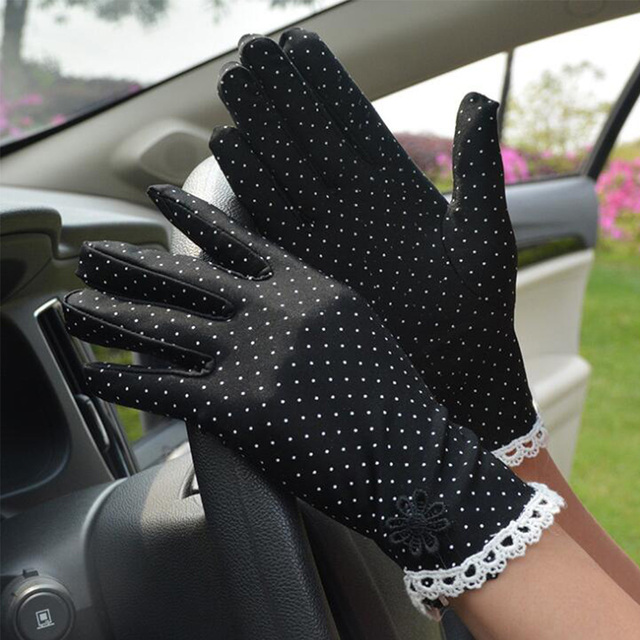 Women's Fashion Cotton Summer Gloves Lace Patchwork Gloves Anti-skid Sun Protection Driving Short Thin Gloves Dot Women Gloves