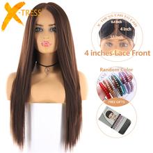 Średni brązowy kolor syntetyczna koronka peruka Front dla kobiet X-TRESS długi Yaki peruki z prostymi włosami z naturalną linią włosów część środkowa tanie tanio Yaki prosto RGF-7317B Średnia wielkość Warstwowa Swiss koronki 4inchx1cm Lace Front