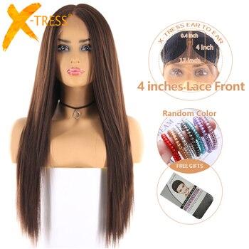 בינוני חום צבע סינטטי תחרה מול פאה עבור נשים X-TRESS ארוך יקי ישר שיער פאות עם קו שיער טבעי באמצע חלק