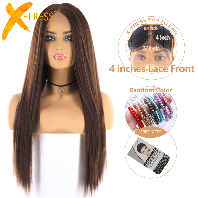 Medium Brown Color Synthetic Lace Front Wig For Women X-TRESS Long Yaki Straight Hair Wigs With Natural Hairline Middle Part