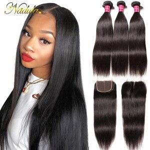 3 пряди бразильских прямых волос Nadula с застежкой 4*4, прямые пряди из человеческих волос с застежкой