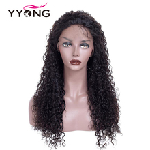 YYONG 12x3 Lace Front Human Hair Wigs Peruvian Kinky Curly Glueless Remy Medium Brown