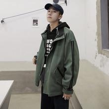 IiDossan Windbreaker แจ็คเก็ตผู้ชายฤดูใบไม้ผลิน้ำหนักเบา streetwear เสื้อใหม่ Hooded Zipper เสื้อผ้า Outwear เสื้อคลุมสีเขียว