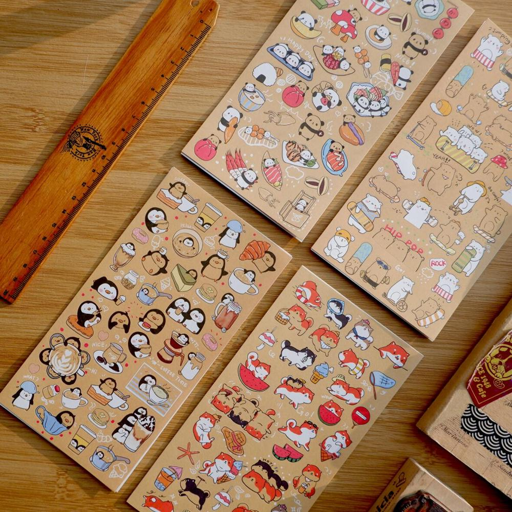 Kraft Cartoon Animal Panda Penguin Bear Journal Decorative Stickers Scrapbooking Stick Label Diary Stationery Album Stickers