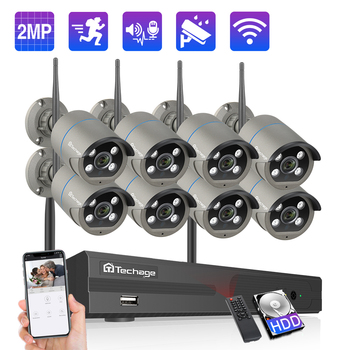 Techage 8CH 1080P Wireless NVR Camera Kit CCTV Security System Outdoor Wifi IP Camera 2MP Audio Sound P2P Video Surveillance Set
