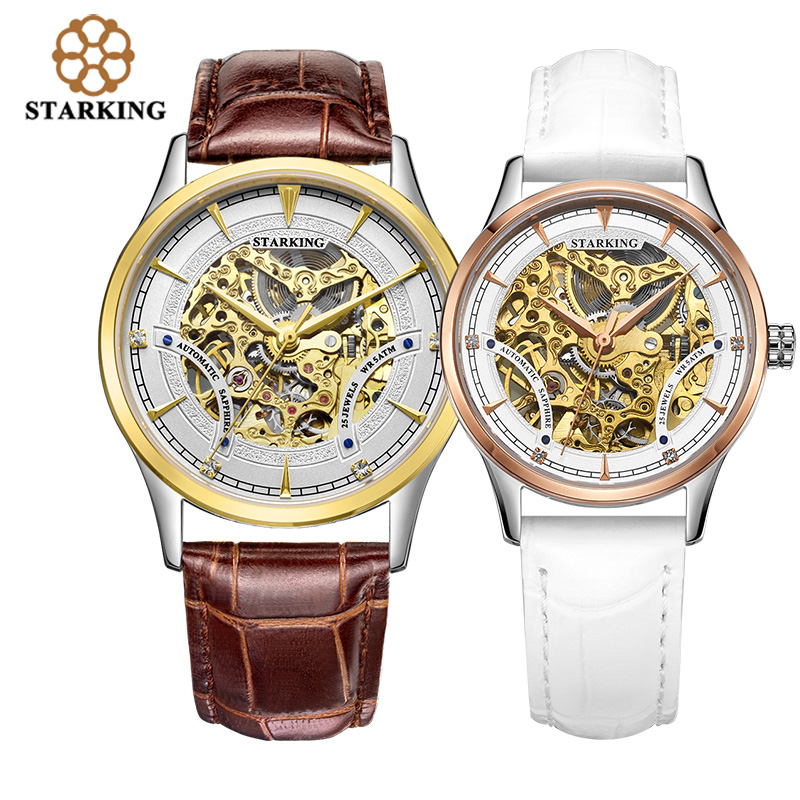 STARKING Automatic Self-wind Lovers Watches Stainless Steel Genuine Leather Skeleton Mechanical WristWatch Relogios Masculinos
