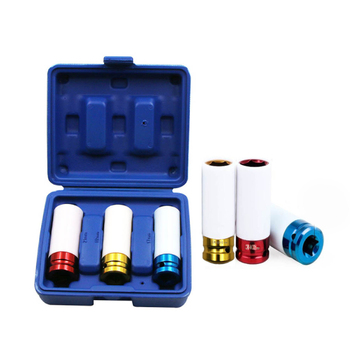 3PCS 17/19/21mm Pneumatic Tyre Protection Sleeve 1/2 Colorful Steam Sleeve Auto Repair Hardware Tool + Case auto accessories 3pcs set 17 19 21mm tire protection sleeve wheel deep impact nut sockets red yellow blue 17mm 19mm 21mm
