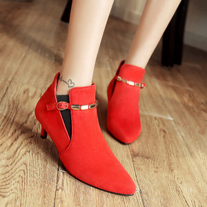 Image 3 - Retro Vrouwen Laarzen Vintage Lage Hak Enkellaarsjes Voor Vrouwen Mode Gesp Vrouwen Korte Schoenen Vrouw Grote Maat Grijs Rood groene Laarzen