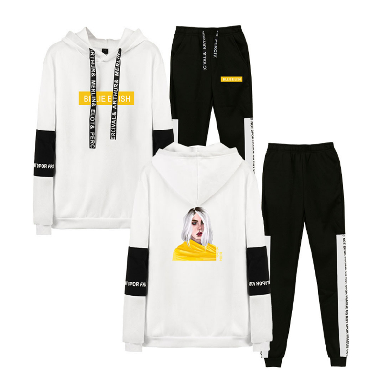 New billie eilish Hoodie Sweatshirt Women Fashion White Hoodies Sweatshirts+Black Sweatpants Suits Autumn Winter Warm Pullover