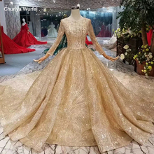 LSS309 luxury golden wedding party dresses o-neck long sleeves muslim bride gowns with train 2019 latest new design