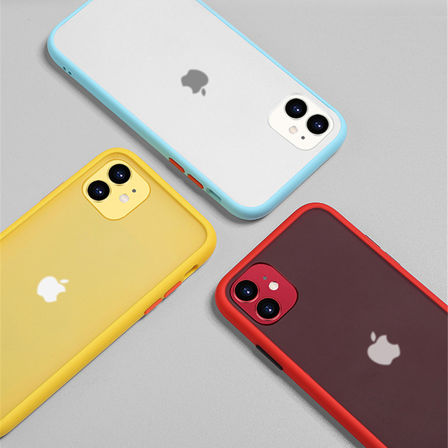 Mint Simple Matte Bumper Phone Case for iphone 11 Pro XR X XS Max 12 6S 6 8 7 Plus Shockproof Soft TPU Silicone Clear Case Cover 6