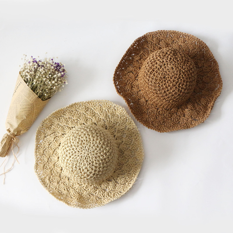 2019 Parent-child Summer New Girl Sun Hat Cap Beige Brown Straw Flat Top Summer Beach Straw Hat Beach Caps
