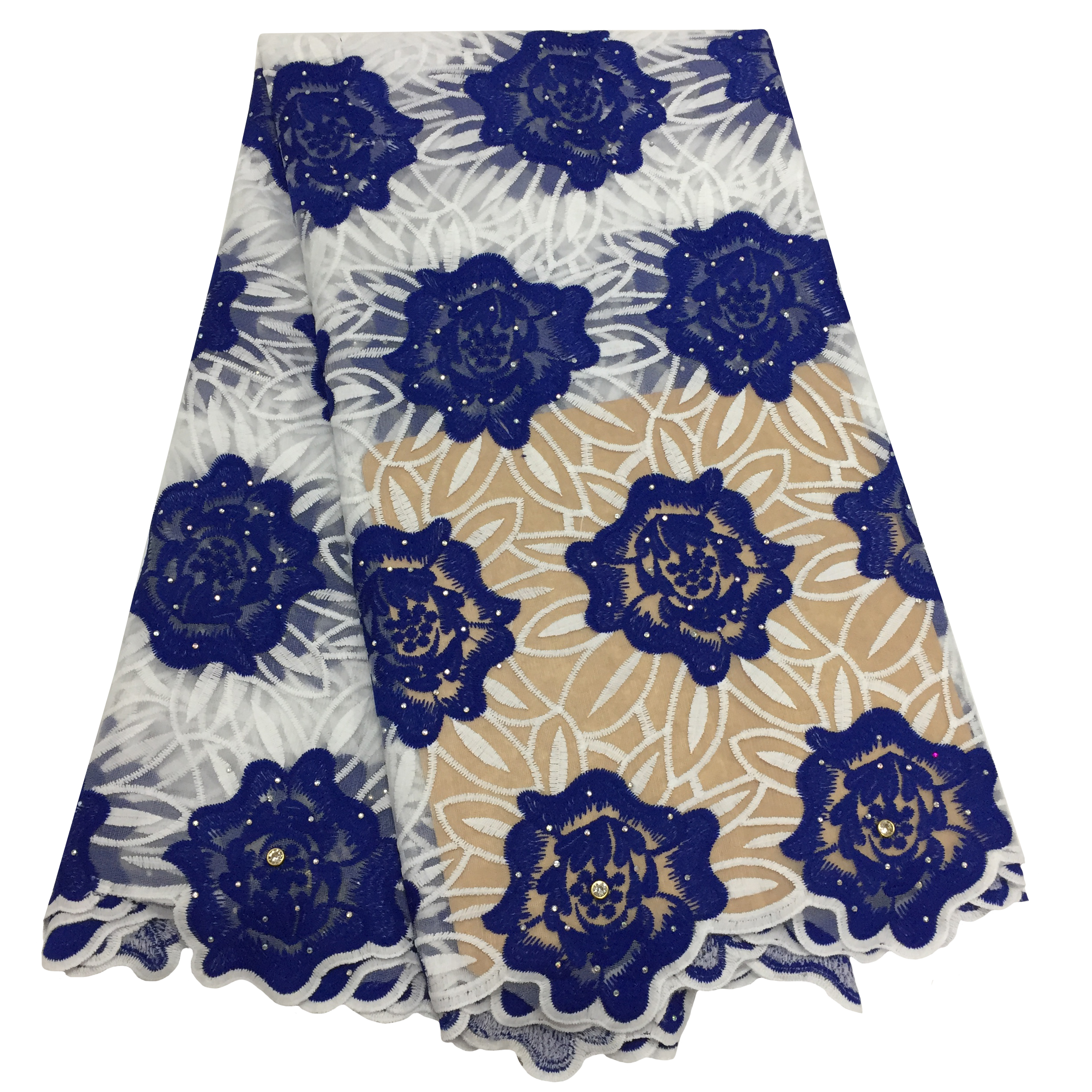Fashion Royal Blue African Lace Fabric 2020 High Quality French Nigerian Mesh Tulle Lace Fabrics With Beads For Wedding Party
