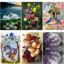 DIY 5D Diamond Painting Flower Diamond Embroidery Landscape Waterfall Cross Stitch Full Round Drill Mosaic Rhinestone Home Decor diapai 100% full square round drill 5d diy diamond painting flower landscape diamond embroidery cross stitch 3d decor a21095