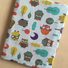 Owl Printed Cotton Linen Fabric for Patchwork DIY Sewing Home Textile Decoration Canvas Material Sofacover
