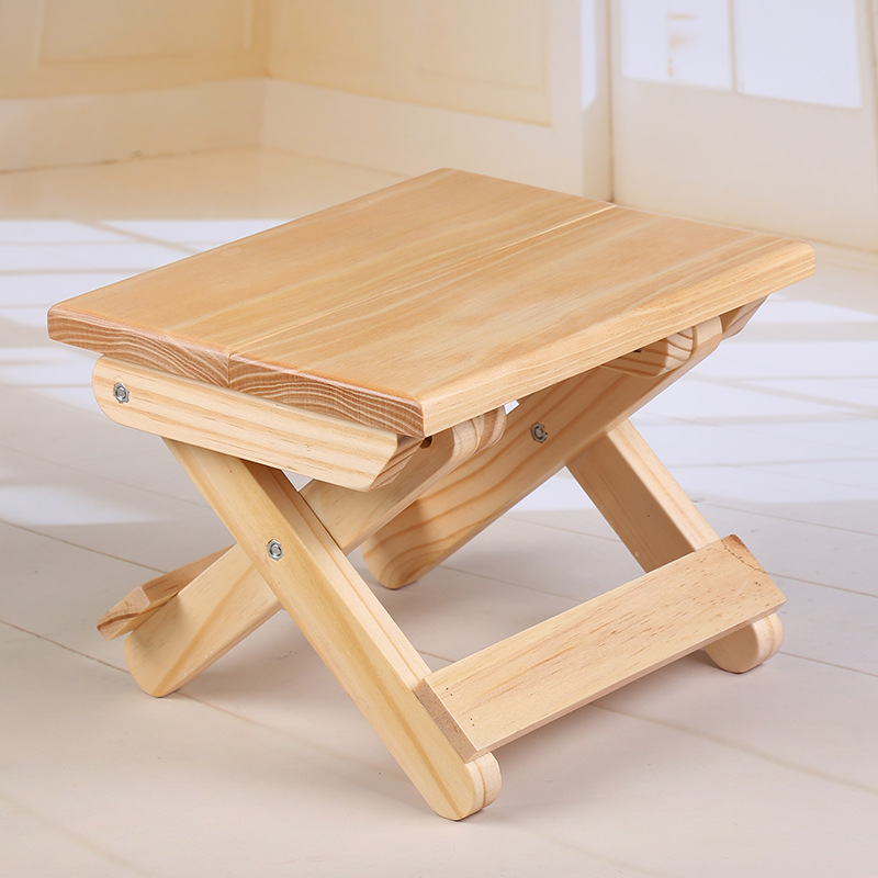 Natural Pine Wood Stool Portable Outdoor Foldable BBQ Camping Seat Chair Fishing Stools Kids Furniture Ottomans