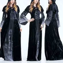 New Halloween Costumes Hooded Robe Adult Women Witch Costume Dress Halloween Cosplay Party Adult Women Gothic Halloween Morticia(China)