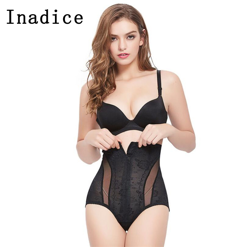 Inadice Briefs Slimming Pants Sexy Underwear Buckle High Quality Elastic Belt Lace High Waist Tummy Control Body Shaper For Lady
