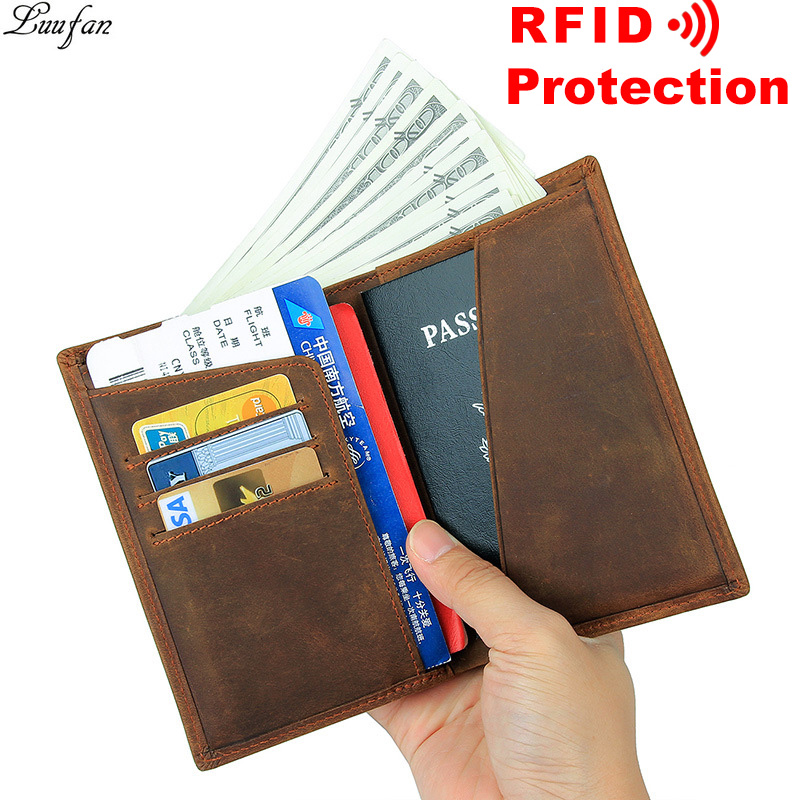 RFID Blocking Leather Travel Passport Holder With Snap Bifold Wallet For Men And Women Brown