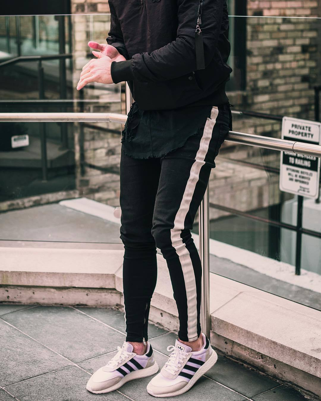 New Style Men's Skinny Jeans Black And White With Pattern Casual Slim Fit Zipper Skinny Pants Men In Key Western Station