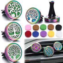 Colorful Aromatherapy Diffuser Necklace Pendant Stainless Steel Car Air Freshener Clip Lockets with 10pads DropShipping