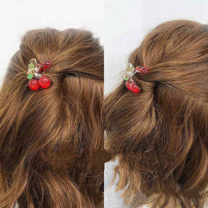 2pc Lovely Small Cherry Hair Claw Clips for Women Girls Kids Children Hairpin Headband for Hair Washface Accessories Headwear 5