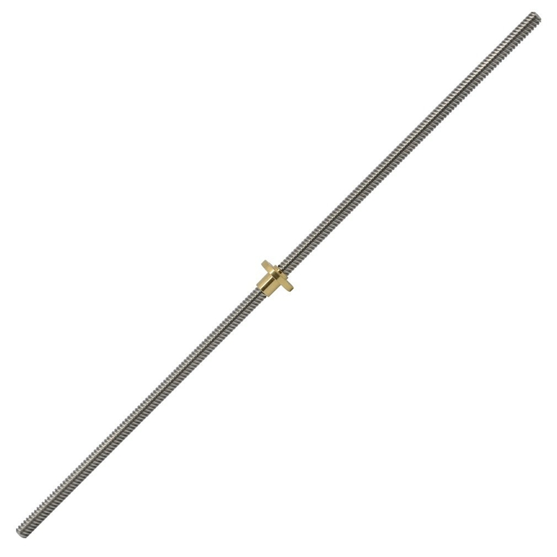 500mm T8 Lead Screw And Brass Nut (Acme Thread, 2mm Pitch, 4 Starts, 8mm Lead) For 3D Printer Z Axis
