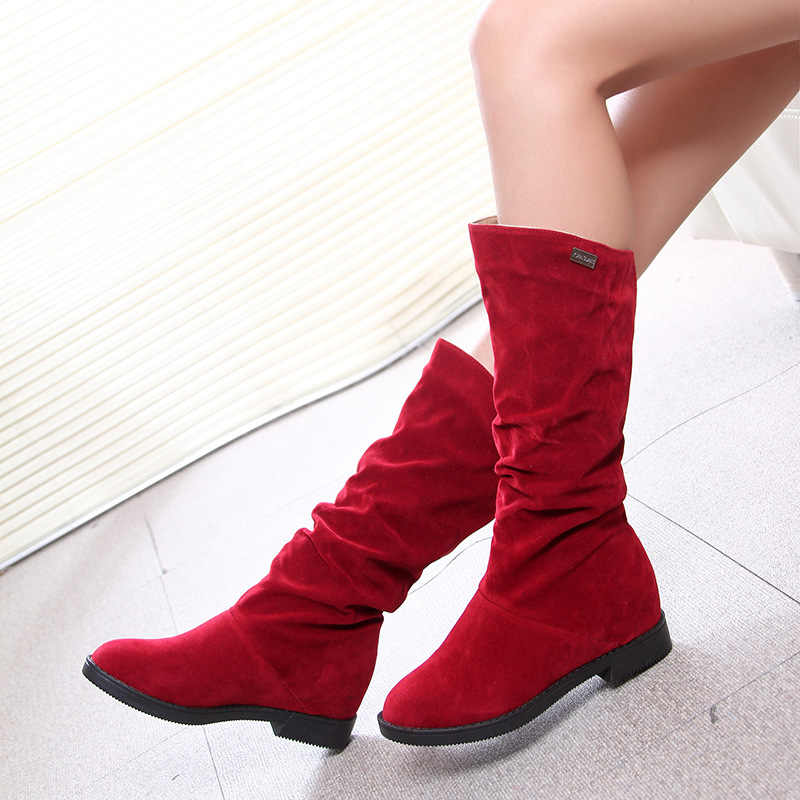 2019 Snow Boots Women Winter Shoes Casual Woman High Boots Black Red Soft Comfortable Female Footwear A1749