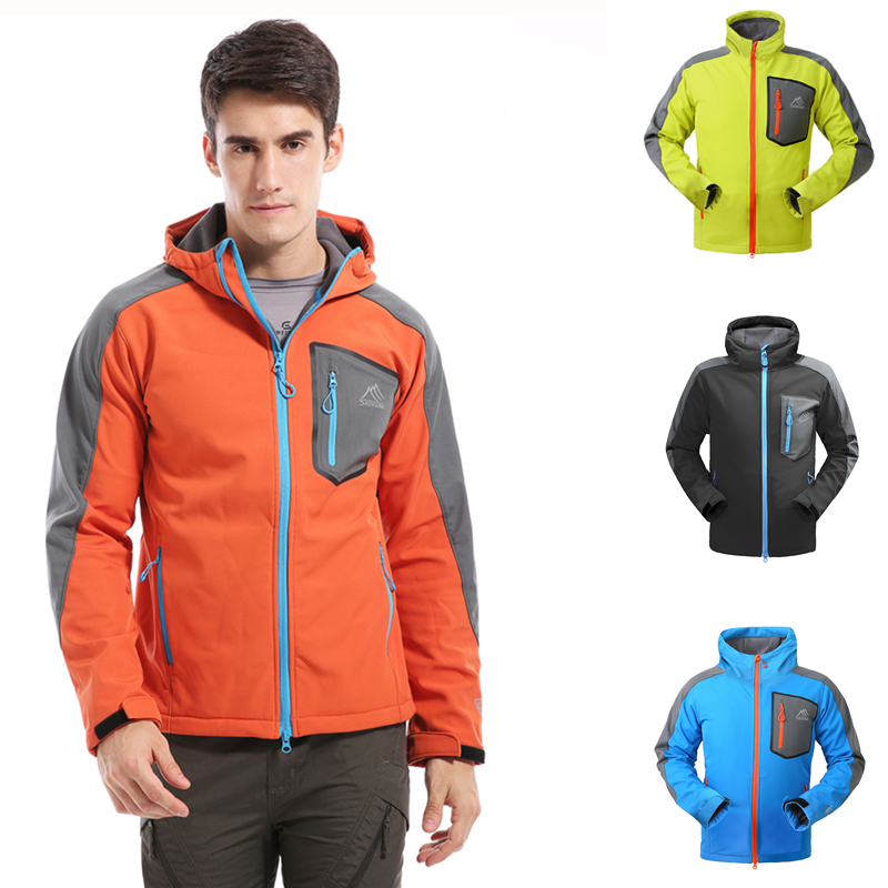 SAENSHING Softshell Jacket Windbreaker Rain-Coat Trekking Fleece Outdoor Men Waterproof title=