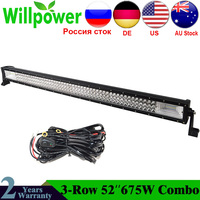 52 inch 7D 675W LED Bar LED Work Light Bar Driving Light LED Light Beam Offroad Boat Car Tractor Truck 4x4 SUV ATV 12V 24V