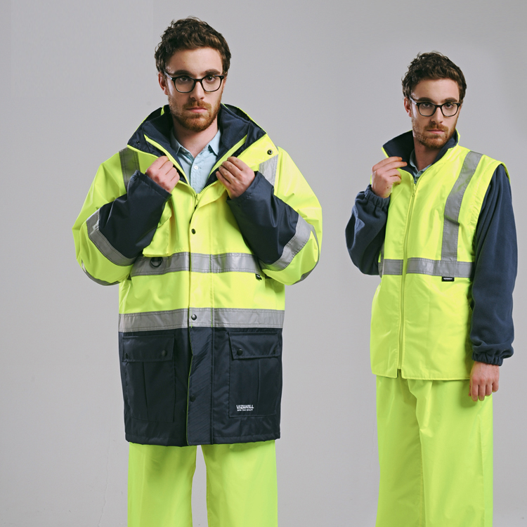 Image 3 - EN471 ANSI/SEA 107 AS/NZS  Hi vis waterproof 5 in 1 jacket with reflective tape safety workwear winter jacket-in Safety Clothing from Security & Protection