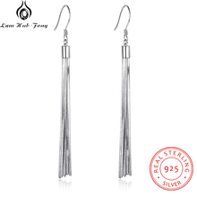 Genuine 925 Sterling Silver Tassel Dangle Earrings Women Metallic Long Party Jewelry Gift for Friends (Lam Hub Fong)