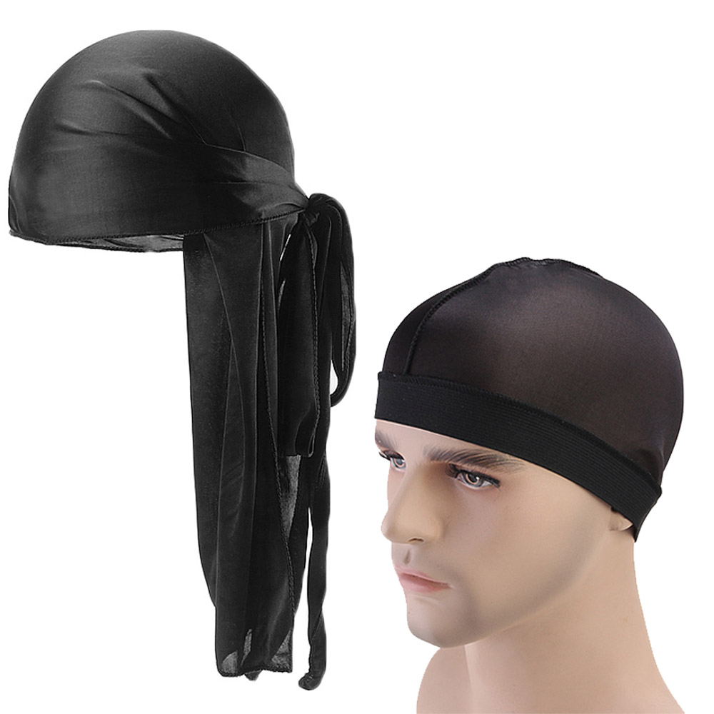 Unisex Durag Long Satin Breathable Turban Du rag Pirate Hat <font><b>Men</b></font> Hip Hop <font><b>Durags</b></font> 2pcs/lot image