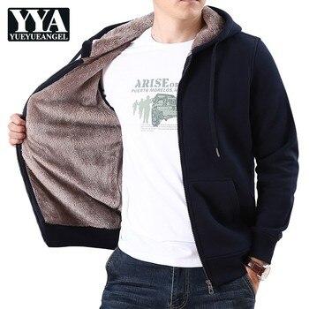 Men Thicken Warm Cardigan Sweatshirt Jacket Hooded Sport Loose Short Coat Male Winter Solid Colors Faux Lambswool Jacket M-3XL