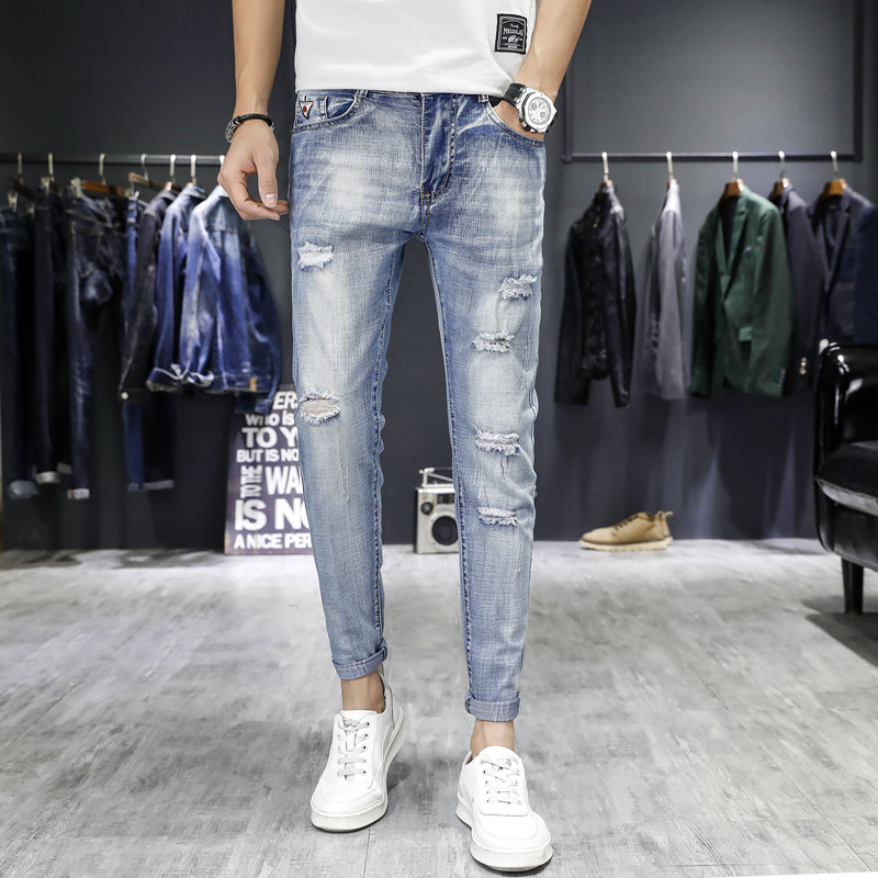 2019 Spring Summer Korean-style Trend Men With Holes Jeans Men's Versatile Elasticity Slim Fit Skinny Pants Capri Pants