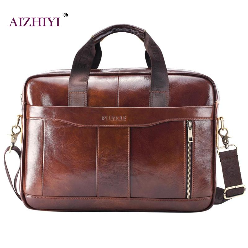 Genuine Leather Men Business Briefcase Laptop Shoulder Crossbody Bag Office Handbag Male Solid Multi-function Top-handle Bags