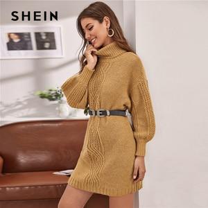 Image 2 - שיין גמל גולף כבל לסרוג שרוול פנס סוודר שמלה ללא חגורת נשים חורף קצר ישר מקרית שמלות