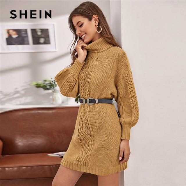 Camel Turtleneck Cable Knit Lantern Sleeve Sweater Dress Without Belt