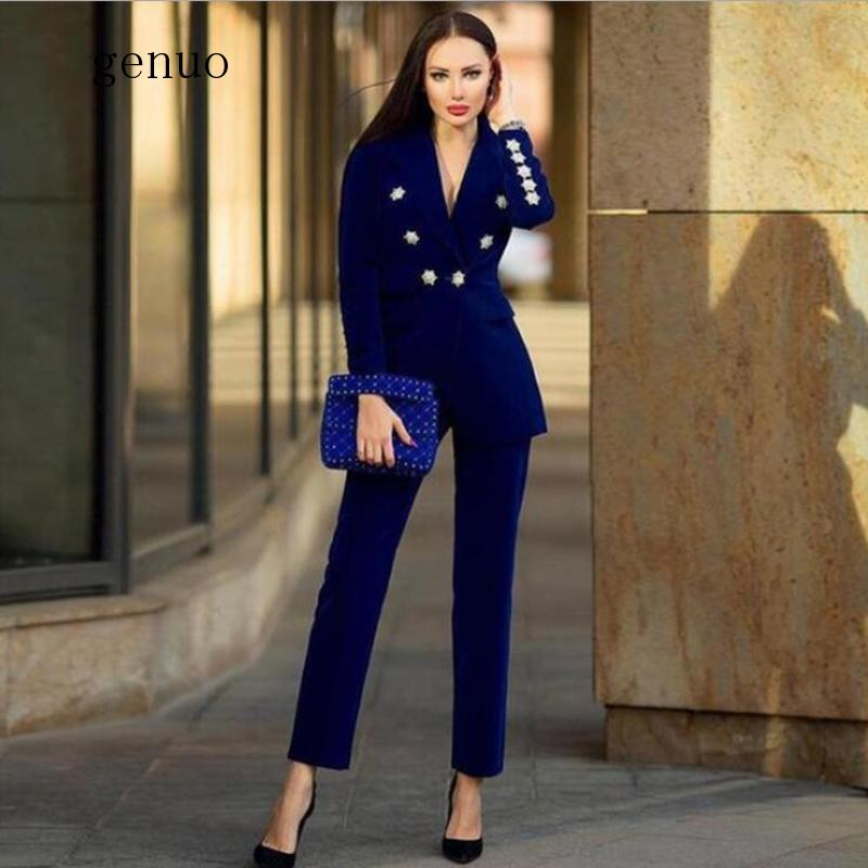 New Winter Ladies Suit Dark Blue Long-Sleeved Jacket And Pants 2 Pieces Two-Piece Deep V-Neck Crystal Diamond Buckle Set
